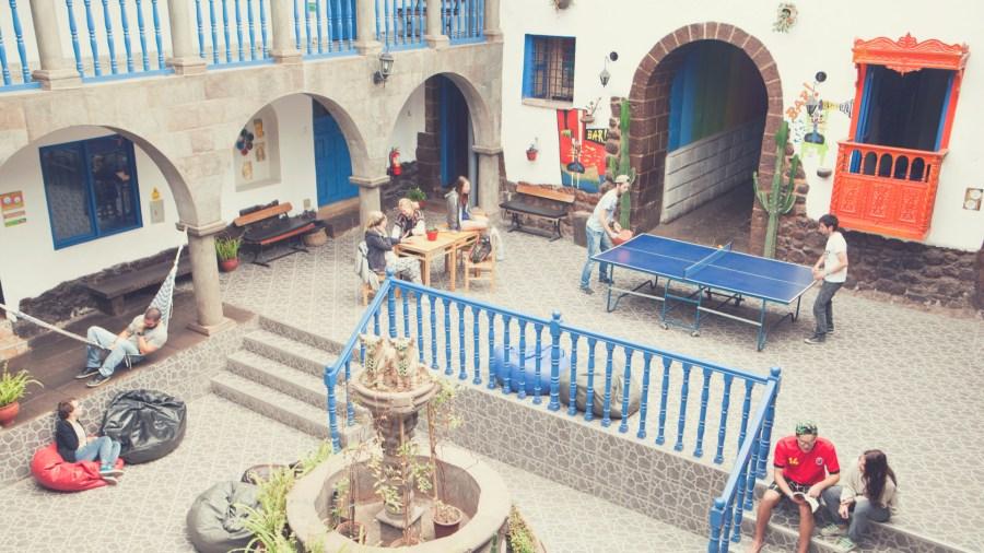 Courtyard at Milhouse hostel Cusco, Peru