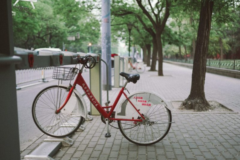 Red public bike in China