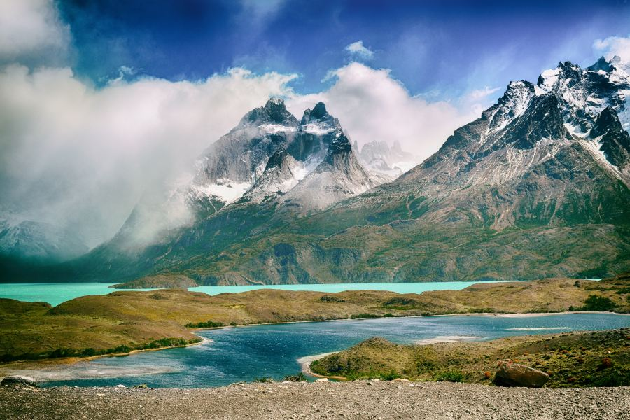 Torres del Pain in Argentina, aqua coloured lakes and cloud covered mountains