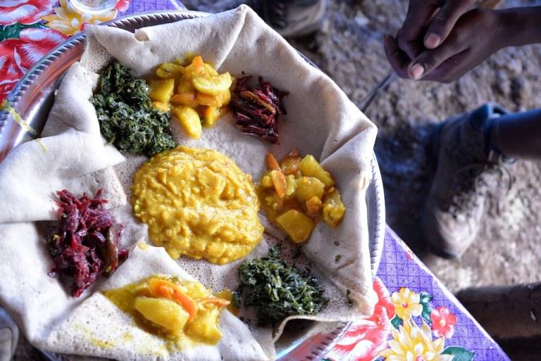 Traditional Ethiopian dish and wat and injera
