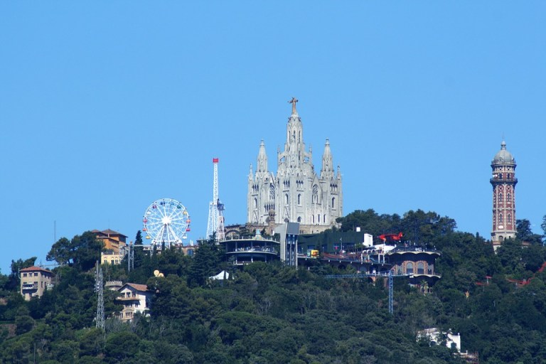 Tibidabom a cathedral and amusement park on top of Tibidabo hill in Barcelona Spain