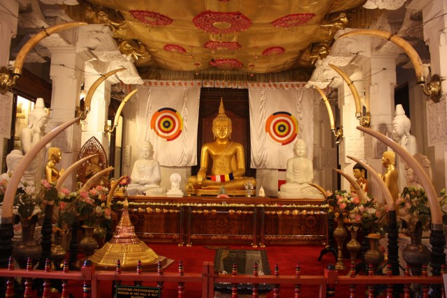 Inside the temple of tooth in Kandy, Sri Lanka
