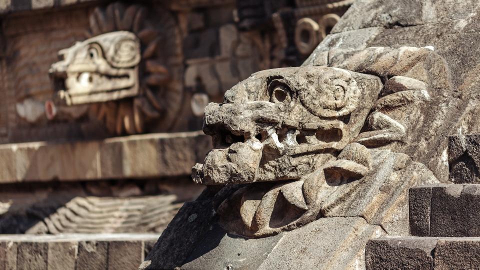 Carving details of Quetzalcoatl Pyramid at Teotihuacan Ruins