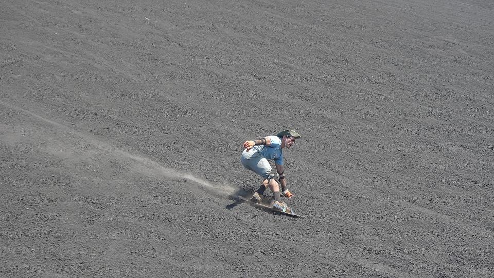 Boarding down Cerro Negro Volcano