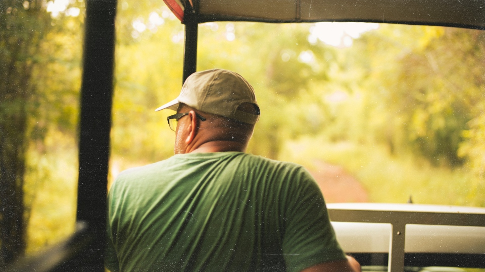 wearing a hat on safari