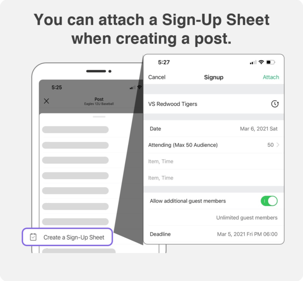 attach a sign up sheet to a post in BAND for safe distribution