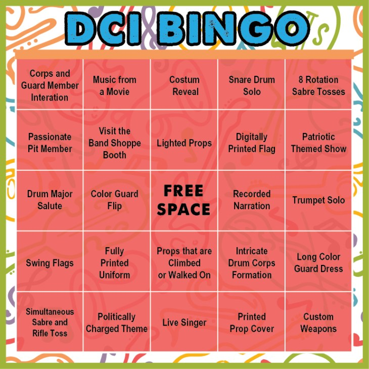 Band Shoppe's DCI Bingo Card