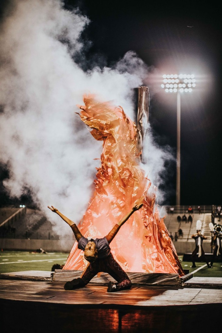 Boston Crusaders ending their show with a show-stopping flame