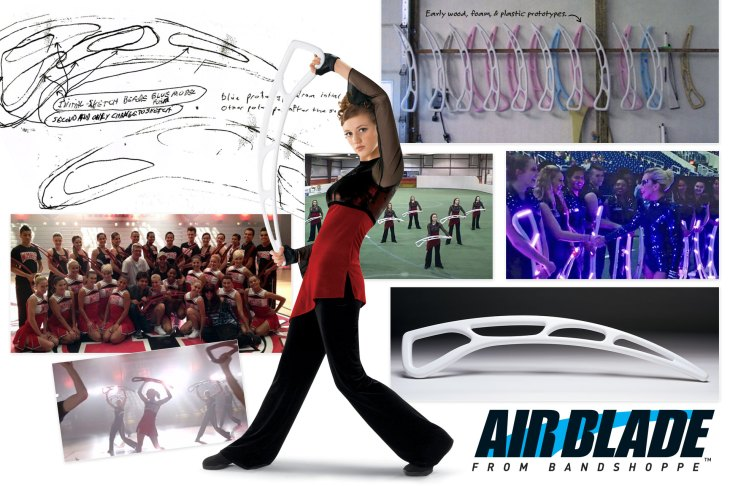 Band Shoppe's Air Blade - concept drawings, original wooden models, used in Glee and in the Super Bowl Halftime Show with Lady Gaga