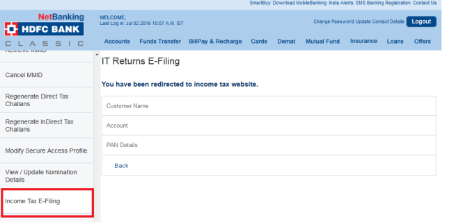 Bank - IT E-File Tab