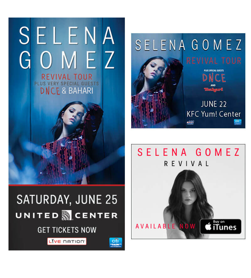 biểu ngữ Selena gomez cho buổi hòa nhạc