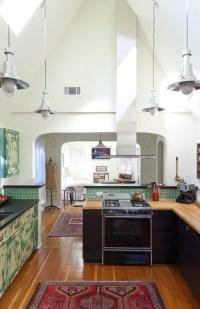 Railroad Era Pendant Lighting for High Ceiling Kitchens