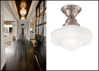 Flush Mount Schoolhouse Lighting in a Farmhouse Entry ...