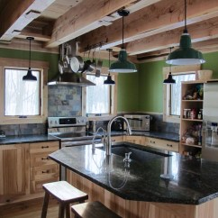 Rustic Kitchen Island Light Fixtures Quartz Countertops Porcelain Enamel Lighting Gives New Green Home A