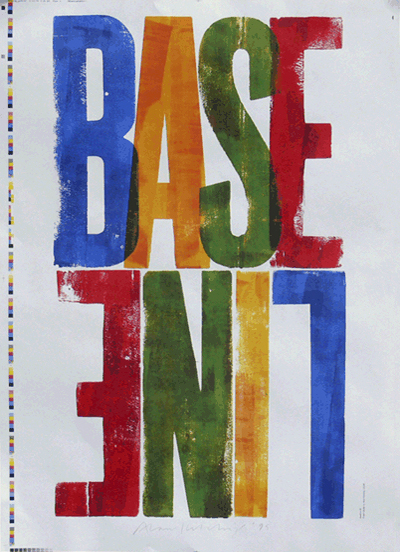 Jacket/poster by Alan Kitching, Baseline 29, 1999.