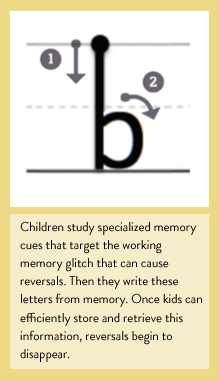 Children study specialized memory cues that target the working memory glitch that can cause reversals. Then they write these letters from memory. Once kids can efficiently store and retrieve this information, reversals begin to disappear. (BayTreeBlog.com)