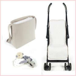 bolso pamnera, colchoneta para silla universal y peluche
