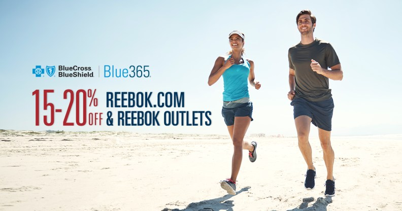20 percent discount at Reebok.com or 15 percent off at Reebok outlet stores