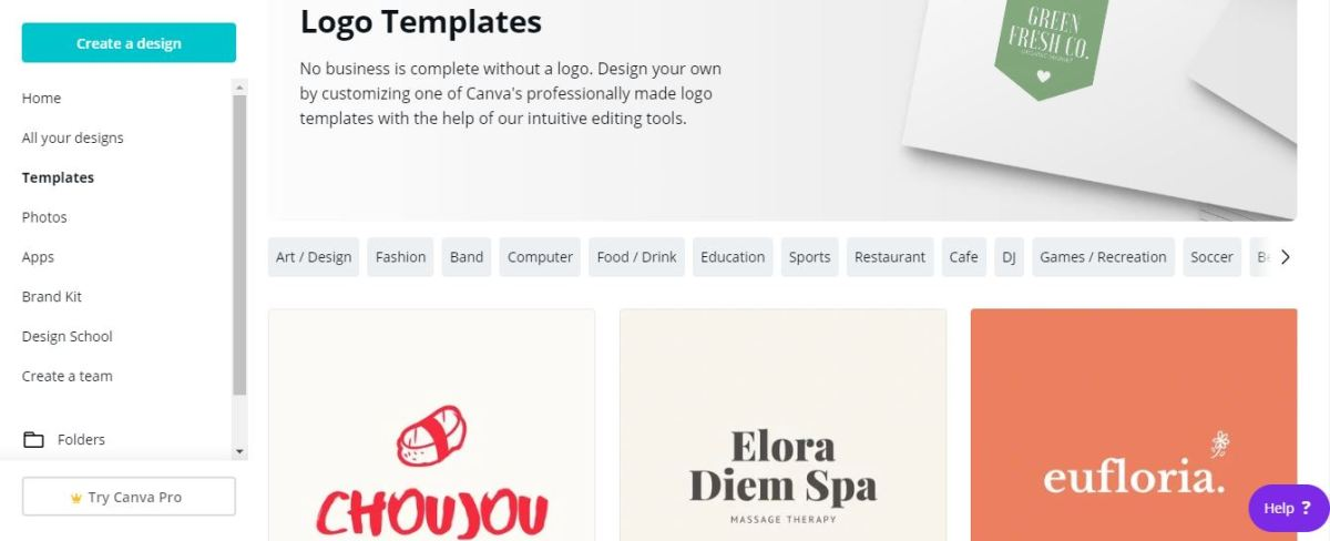 canva screenshot logos