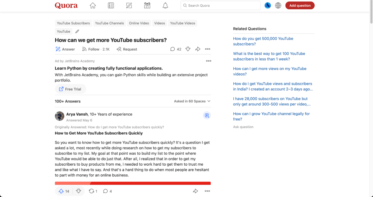 share youtube videos on quora