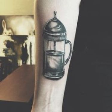 french press tattoo