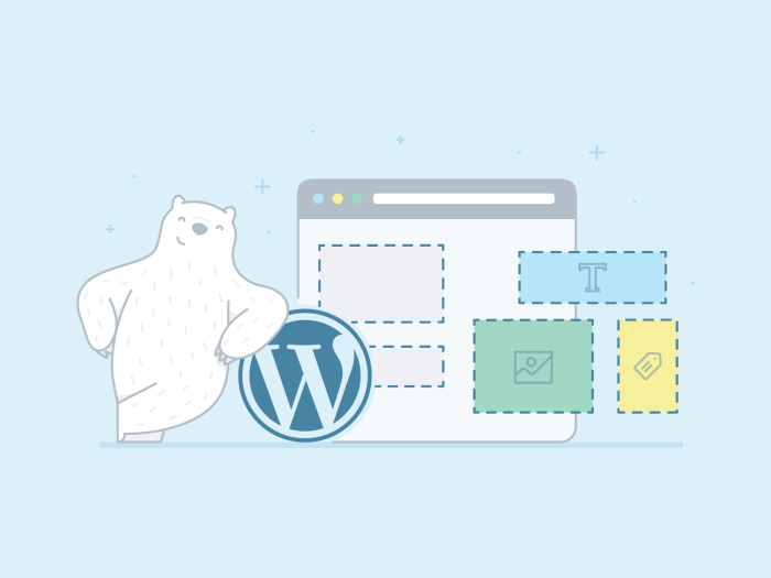 Bear leaning over the WordPress logo