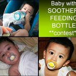 Baby with Soother or Feeding Bottle