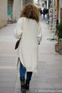 Long White Cardigan | Cardigan Largo Blanco y Bolso de Piel | Fall-Winter 2015-16 / Otoño-Invierno 2015-16