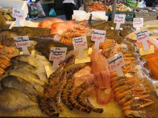 Fresh seafood, including real Dover sole.
