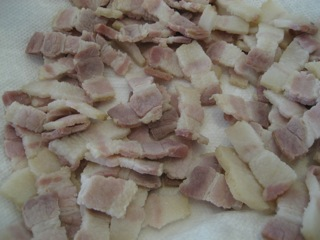 Blached lardons