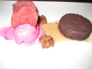 Chocolate cake with red beet ice cream