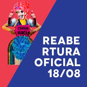 figura queer acompanhada do texto com a data da reabertura oficial do queermuseu
