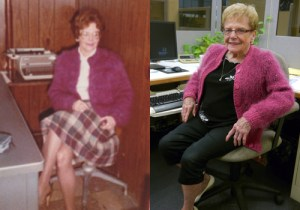 Bev in 1983 & now, wearing   the sweater she knit