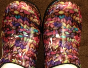 "Diane's ""funky knitting shoes"" inspired her design."