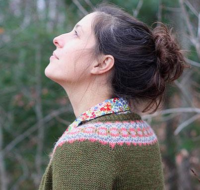 Ellen cardigan knitting pattern in Berroco Ultra Alpaca