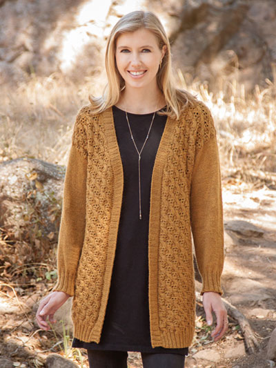 Sweet Springs Cardigan knitting pattern by Amy Christoffers knit in Berroco Vintage DK
