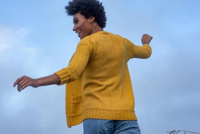 Martisa cardigan knitting pattern in Berroco Vibe