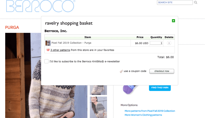 screenshot of berroco shopping cart