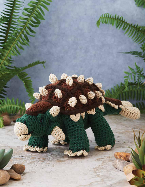 crocheted toy ankylosaurus