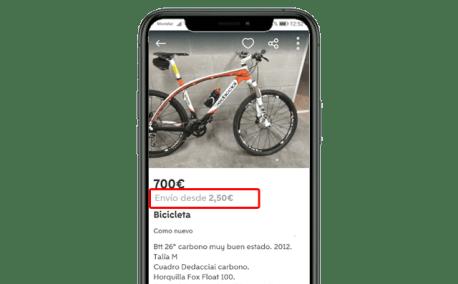 wallapop envio bicicleta