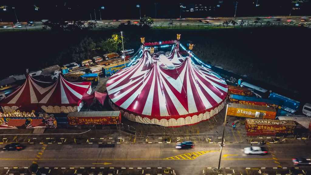 aerial view of a carnival