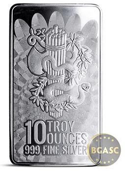 10 oz Silver Bar Liberty & Unity .999 Fine Bullion Ingot back