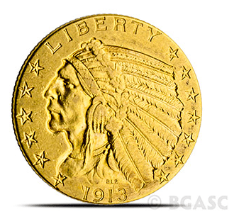 $5 indian gold coin front