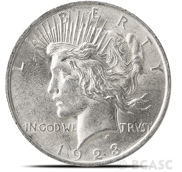Almost uncirculated Peace dollar