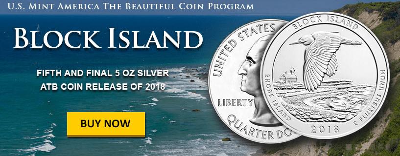 2018 5 oz .999 Silver  Block Island National Wildlife Refuge RI ATB Coin
