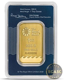 Britannia 1 ounce gold bar back