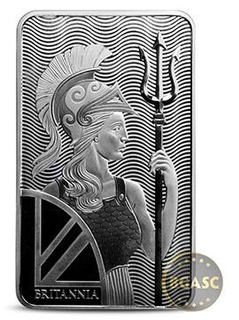 Britannia 100 ounce silver bar front