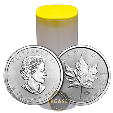 Canadian Mint roll of 25 silver maple leaf coins