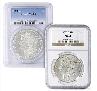 Graded Morgan Silver Dollars