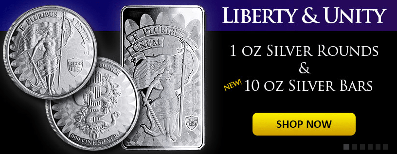Liberty and Unity silver round and bar banner